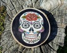 Wood slice painting, Wood slice art. Day of the dead skull. Ink on wood. Wall art, Tattoo design, sugar skull, Wall plaque, home decor