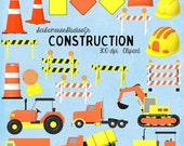 70% OFF THRU 2/6 Construction Clipart, Commercial Use Digital Graphics, Traffic Clipart, Caution Sign Clipart