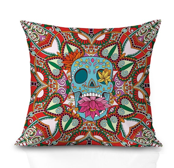 Red sugar skull throw pillow covers skull pillow cover both sides print any sizes