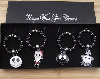 Unique Nightmare Before Christmas Boxed Set Of Four 38 mm Wine Glass Black Pearl Silver Snowflake With Enamel Charms Keepsake