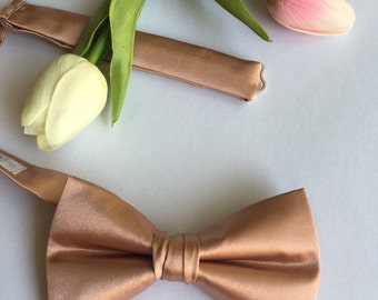 Rose Gold Bow Tie - Pre Tied Messy Knot - Rose Gold Wedding - Mens Bow Tie - Rose Gold BowTie - Rose Gold Tie - Childrens Rose Gold Bow