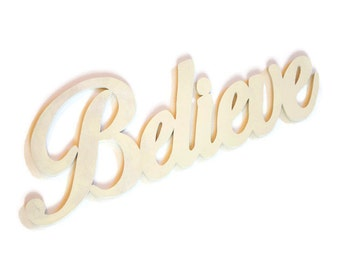 "Wooden ""Believe"" Sign - Large Wood Word - Ivory Wall Hanging - Red Home Decor - Inspirational Quote - Custom Wood Letters - Kitchen Wall Art"