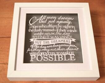 All Men dream typographic papercut - Original, Handmade, Craft Paper Art
