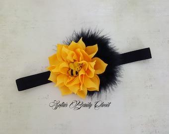 Bumble bee headband. Girls headbands. Yellow headband. Bumble bee Birthday. Kids headband. Baby girl headband. Bee headband. Baby bumble bee