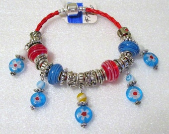 796 - CLEARANCE - Red and Blue Beaded Bracelet