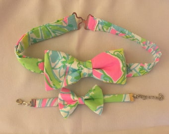 His & Her Lilly Pulitzer Coconut Jungle Bow Tie and Bow Bracelet Set