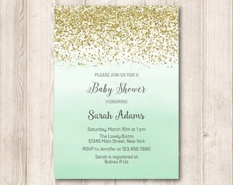 Gold and Mint Baby Shower Invitation, Gender Neutral Baby Shower, Printable Modern Gold Glitter and Ombre Mint Green Watercolor Invite