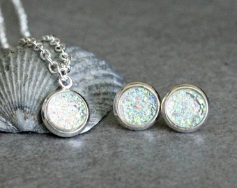 Crystal Necklace Set, Crystal Stud Earrings, Clear Druzy Earrings, Clear Druzy Necklace, Crystal Post Earring, Iridescent Earrings