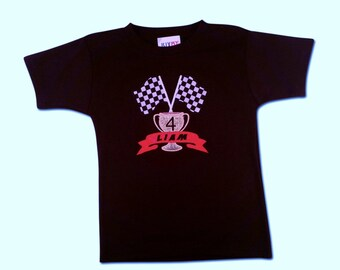 Boy's Winners Trophy Shirt with Name and Number - Great for a Car Themed Birthday