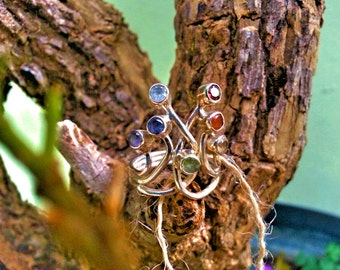 Silver ring with natural stones