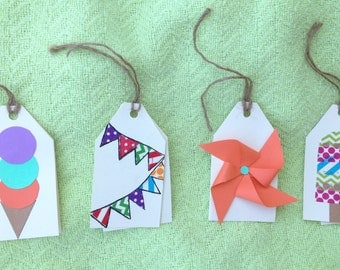 Pack of four, handmade, summertime fun gift tags