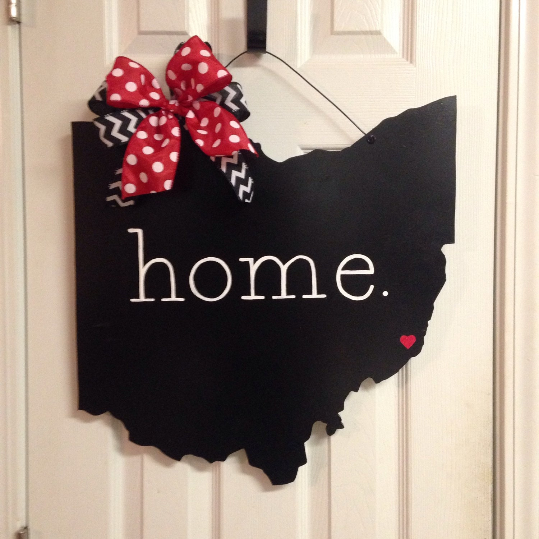 Ohio home wooden door hanger sign - Wooden door signs for home ...