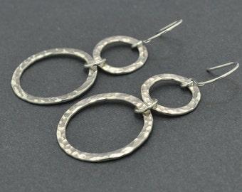 Sterling Silver Earrings, Circle Earrings, Hammered Circle, Tiered Earrings, Hammered Earrings, Large Earrings, Dangle Earrings