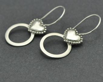 Silver Heart Earrings, Handmade Sterling Silver Earrings, Circle Earrings