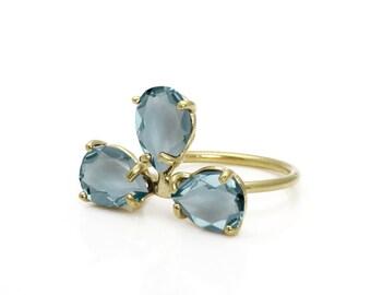 SALE - Blue topaz ring,triple drop ring,gemstone ring,birthstone ring,prong ring,stacking ring,semiprecious ring,quartz ring