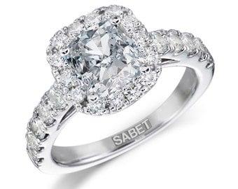 Moissanite Engagement Ring 1.20ct Forever One Moissanite Ring .90ct Natural Diamonds Classic Halo Ring White Gold Pristine Custom Rings