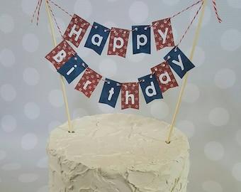 "Cake Bunting, ""Stars"", Happy Birthday, Cake Topper, Paper cake banner"
