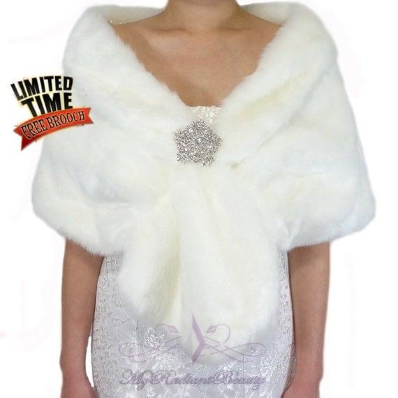 Faux fur shawl ivory faux fur shrug bridal fur stole fur for Fur shrug for wedding dress