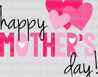 Mother's Day/'Happy Mother's Day with Hearts'/Vinyl Decal/Quote