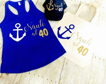 Nauti at 40 Gift Set | 40th Birthday Gift Set | 40th Birthday Hat 40th Tank and 40th Tote Gift Gift | Nauti and 40 Gift Ideas | 40th Gifts