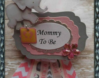 Pink Elephant Theme Mommy To Be Corsage Elephant Baby Shower Corsage Elephant Guest Corsage