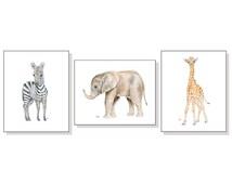 Nursery Art Prints Safari Nursery Print Baby Animal Print Jungle Nursery Print Child Room Print Baby Elephant Zebra Giraffe Set of 3 Prints.