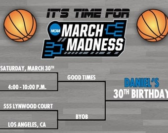 March Madness Basketball party invitation