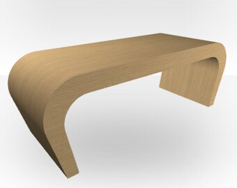 Natural Oak Matt Coffee Table - Wedge
