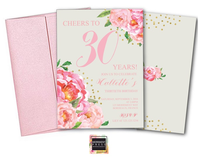 30th Birthday Invitation // Thirtieth Birthday Invitation // Grey // Pink // Flowers // Peony // Pink // Gold Glitter // BORDEAUX COLLECTION