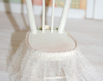 Miniature Shabby Chic Ivory wood chair with Tulle trim