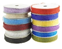 Coil Mesh Netting Jute Wired Ribbon, 7/8-Inch 25 Yards