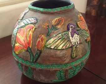 Gourd Art:  Hummingbirds and Daylilies