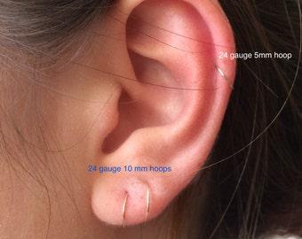 Cartilage Hoop Earrings in 14K Gold Filled, Minimalist Mini Cartilage/endless/catchless/tragus/helix/hex, Helix Piercing Hoops, Ear Hugging