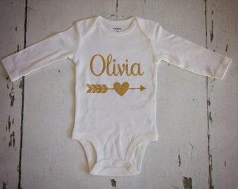 Personalized name glitter onesie-gold glitter onesie-birth announcement onesie