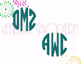 ROUND MONOGRAM small Embroidery monogram Font Design, BX, 1, 1.5 and 2 inches included, #544