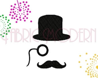Steampunk Embroidery Design, bowler hat monocle mustache  #372