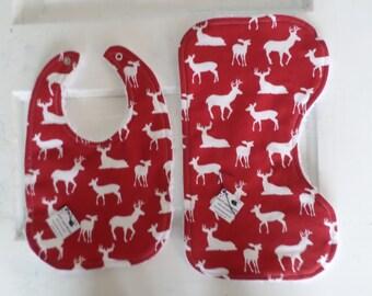 Red Deer Bib and Burp Set - FREE SHIPPING!