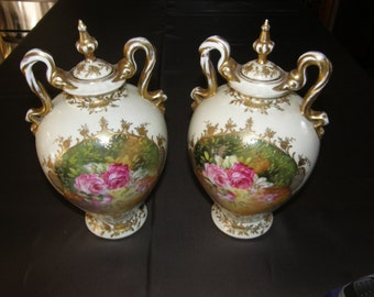 A Pair of Gorgeous ANTIQUE VICTORIA Czechoslovakia 2 Handled Urns