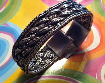 925 sterling silver bracelet, braided fabric, vintage late ' 80