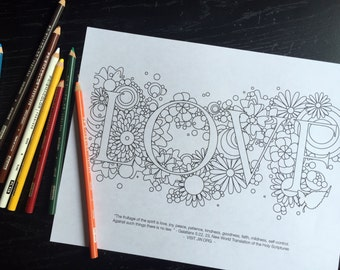 Adult Coloring Pages: Fruitage of the Spirit- Love, Joy & Peace (Digital Download, 3 Pages)