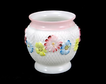 Consolidated Glass Spooner Cosmos Flowers Antique Vase