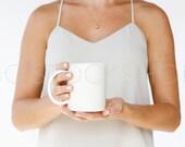 SET OF 2 Styled Coffee Mug Stock Image | Styled Coffee Mug | White Mug and Cream Shirt | Product Photography | Digital Image