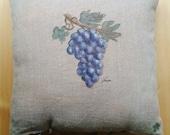 Wine grape hand painted pillow case, linen cushin cover, Wine lovers pillow, Nautical pillow, Mediterranean motif pillow, Unique pillow