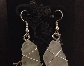 """Big Island Hawaii Clear Sea Glass Wrapped in Stainless Steel Wire Earrings 2"""""""
