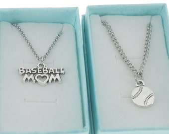 Mother Son Matching - Baseball mom necklace and Baseball son necklaces.  Mother Son Gift.  Mother Son Jewelry.  Mother Son Necklaces.