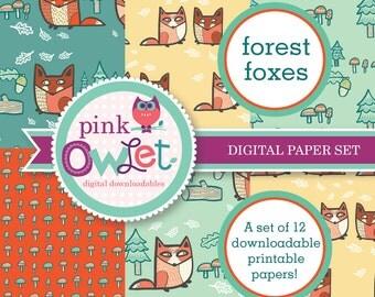 Friendly Forest Foxes Digital Paper Set