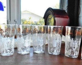 Early American Water Glasses With White Silhouettes And Gold Details Lot of 7