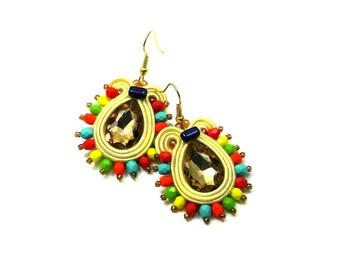 Soutache Earrings  ,soutache jewelry in ethnic, handmade earrings, colorful earrings, soutache,braid,turquoise