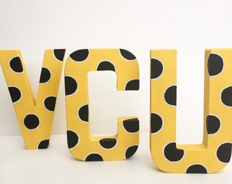 VCU polka dot painted letters