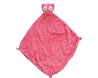 Monogrammed Pink Owl Lovie / Angel Dear / Personalized Blankie / Security Blanket / Baby Blankie Gift / Animal Blankie